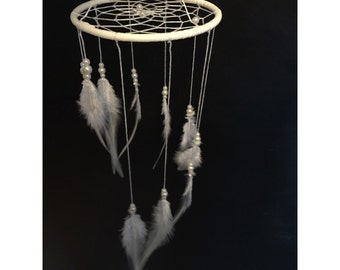 White dream catcher mobile, white pearl web, rooster feathers finish 4inch diameter dreamcatcher hand made