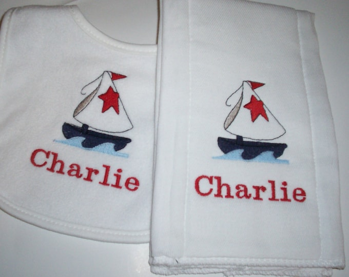 Sailboat personalized bib and burp set - Personalized Nautical bib and burp set - Embroider bib - burp cloth - Boat bib and burp - sail boat