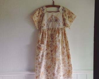 Womens Woodsfolk Cotton Linen Folk Dress in Vintage Cloth with Embroidered bodice brown floral Repurposed Eco