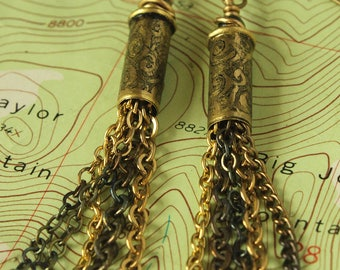 22 Caliber Etched Brass Bullet Shell Casing Earrings with chain dangles - Gypsy Steampunk - BEE-CH***