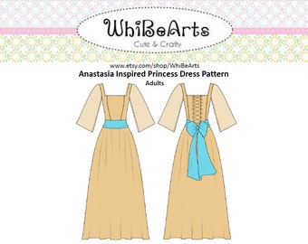 PDF Pattern: Anastasia Dress, Adult, Cosplay Pattern, instructions included