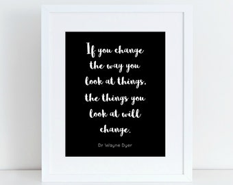 Monochrome printable wall art, Change the way you look at things, calligraphy gallery wall prints