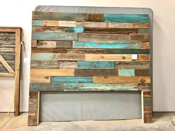 Rustic modern industrial reclaimed wood wall mount headboard art