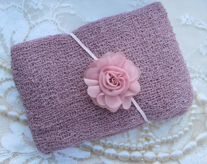 Mauve Stretch Knit Wrap AND/OR Dusty Rose Chiffon Flower Headband, for photo shoots, new baby, bebe, photographer, Lil Miss Sweet Pea