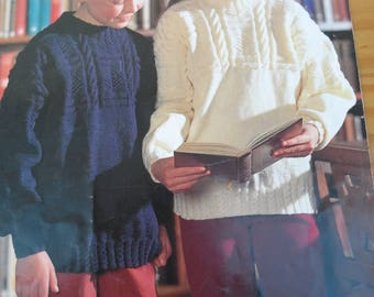 Vintage knitting pattern by Wendy for Children's Guernsey style sweaters in Double Knit from age 4/6 - 16+
