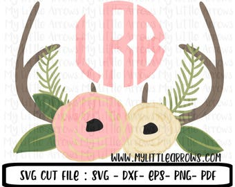 Floral antlers SVG, DXF, EPS, png Files for Cutting Machines Cameo or Cricut - flower svg - antlers svg - baby girl antlers svg - floral svg