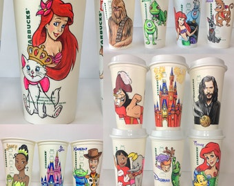 Hand Drawn Starbucks Reusable Cups; Your choice of character (s)