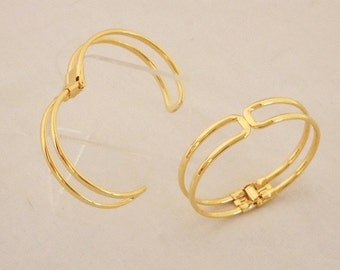 Gold Plated Bracelet Cuffs for Jewelry Making With Spring Closure 2 Pk  Sale