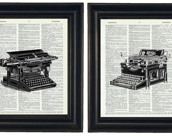 Typewriter Prints Set, Typewriter Art Prints, VintageTypewriter Art Prints, Typewriter Art, Dictionary Prints