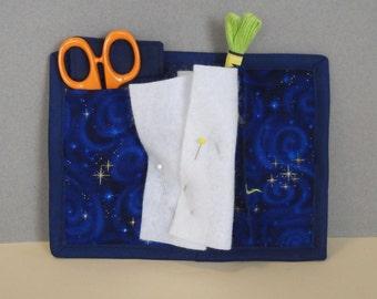 Navy Spirals Needle Book, Needle Case, Hand Sewing Organizer