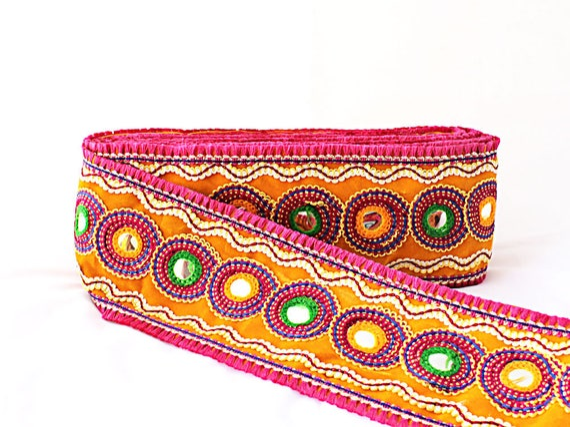 Bollywood Embroidered Trim Black trim Fabric Zari Embroidered Quilt Trims  Indian Design Trim Lace Saree border