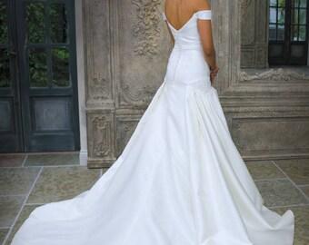 Grace Philips Original- Gabriella. Ivory Mikado Fit and Flare Wedding Dress
