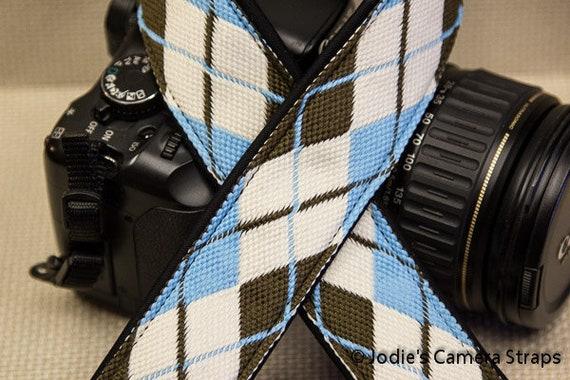 """Camera Strap Argyle Blue Brown 1.5"""" Wide Custom Padded Fits DSLR SLR 4066"""