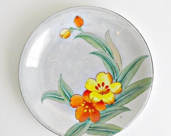 SUMMER SALE Lavender LusterWare Plate, Decorative Hand Painted Asian Plate, Lavender Orange & Yellow, Floral, Lilies, Green Leaves.