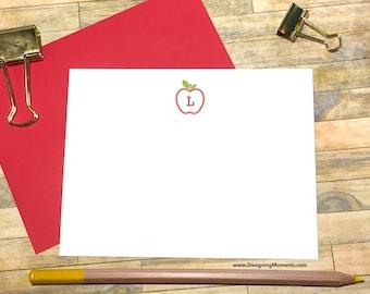 Teacher's Stationery - Teacher Gift - Personalized Apple Stationery - Monogram Stationery Flat Card Set for Teachers - Monogrammed Card 533