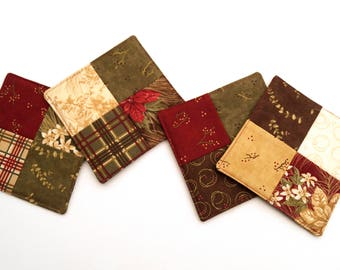 Floral Christmas Coasters in Red and Green Quilted Fabrics