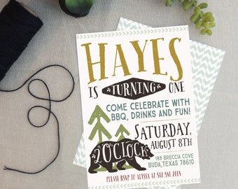 Boys Woodland Camping Birthday Invitation
