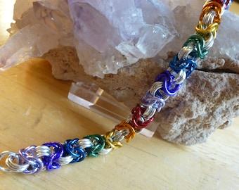 Rainbow and Silver Chainmaille Bracelet
