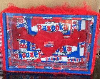 LOVE GUM Bazooka Bubble Gum Art Shadowbox