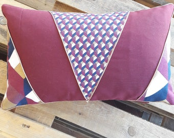 Cushion cover 50 x 30 cubic pattern in Burgundy, Navy, gold.