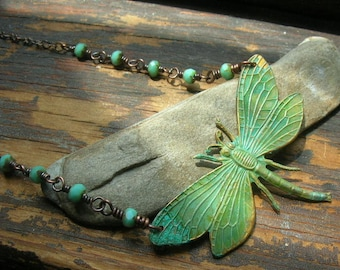 Hovering Meadowhawk Dragonfly in verdigris necklace