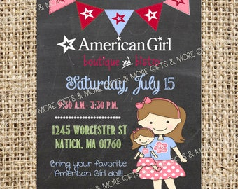 DIY American Girl Brown Hair***Party PRINTABLE PERSONALIZED Invitation***