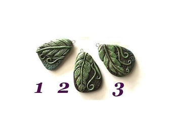 Pendants Rustic Polymer Clay pendant about 40 x 30 mm- Hand made in USA. Leaf pendants Jewelry Supplies for Do it yourself