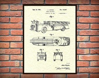Patent Aerial Fire Truck 1940 Design by J.J. Grybos - Art Print - Poster - Wall Art -  Firemen Wall Art - Fire House Wall Art