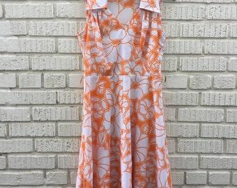 70s Orange Floral Dress. 1970s Large White Print Sleeveless Dress. Medium.