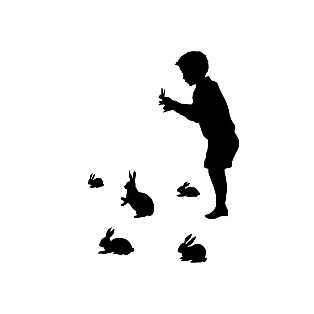 Rabbit Shadow Puppet Silhouette Print Black and White Rabbits