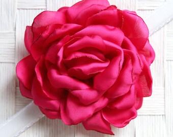 Pink flower corsage etsy hot pink satin bloom flower collar slide on flower collar accessories corsage accessories collar add on mightylinksfo