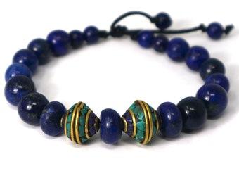 "Lapislazuli and Tibetan crafts buddhist bracelet. Elegance ""Ceiling of the World"""