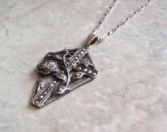Rose Cross Necklace Marcasites Sterling Silver Kite Shape Vintage OT0130