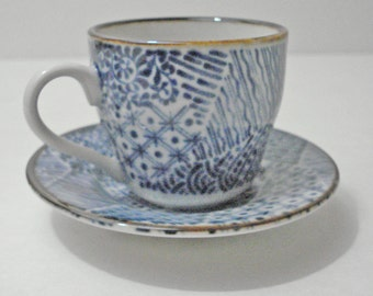 Blue White Quilt Pattern Design Demitasse Cup And Saucer