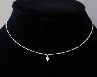 Teardrop Silver Choker - Sterling Silver Necklace, Sterling Silver Choker, Inverted Teardrop, Sterling Silver Jewelry