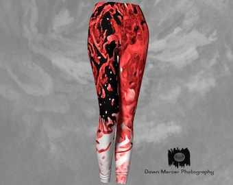 Red Yoga Leggings Printed Yoga Leggings Red Yoga Pants Funky Leggings Womens Printed Leggings Funky Tights Compression Leggings Athletic