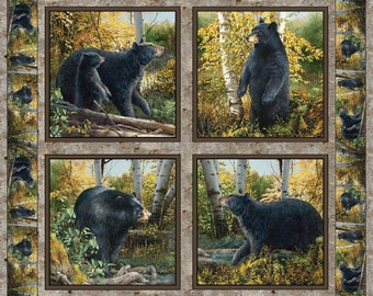 Wild Wings Basic Black Bear Pillow Panel Spring Creative One Yard, Cotton Fabric for Quilting  Free Shipping