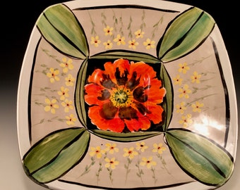 Poppy square bowl,colorful ceramic bowl,poppy, housewarming or wedding gift, mothers day gift, pottery bowl,diane demers smith,floral,
