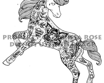 Digital Download Print Your Own Coloring Book Outline Page - Tattooed Unicorn by Carissa Rose - Fantasy Lowbrow Tattoo Flash Illustration