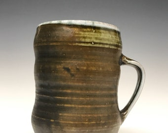 Handmade Ceramic Mug- Variations of browns, greens, and blues-Soda fired