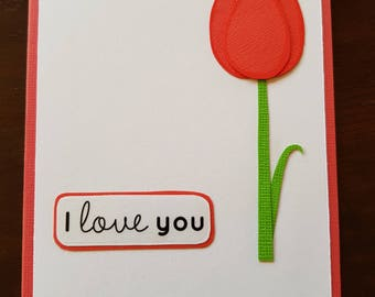 I Love You. Tulip Card Valentines Day