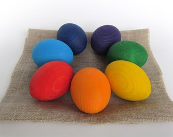 Easter gift - Gift for baby - Wooden Rainbow EGGS - 7 Easter eggs-Pretend Play - Play Food - Waldorf - Montessori Toddler Toy - Natural Toy