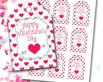 Valentine's Day Tag, Girl Valentine's Tag, Hearts Valentine's Tag, Heart Tag, Instant Download, Party Favor Tags, DIY Printable