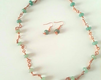 Ombre green aventurine copper wire wrapped necklace and earrings gemstone jewelry set