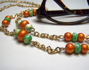 Eyeglass Chain, Orange and Green, Beaded Chain for Glasses, One of a Kind, Eyeglass Holder, 27.5 Inches by Eyewearglamour