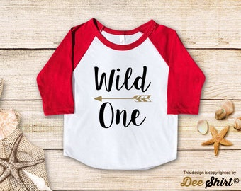 First Birthday Shirt; 1st Birthday T-Shirt; Wild One; One Year Old Kid Tee; Newborn Boy Girl 1 B-day Outfit; Cute Baby Shower Pregnancy Gift