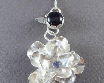 Sterling Silver Pendant - Flower & Bezel