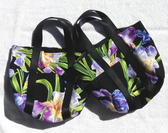 Iris Flower Small Purse Tote Bag Hand Sewn Fully Lined Magnetic Interior Clasp