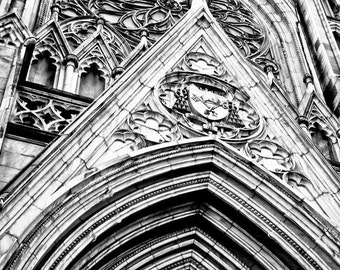 New York Cathedral Church in Black & White Fine Art Print - Travel, Scenic, Landscape, Nature, Home Decor, Zen
