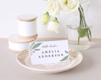 Greenery Place Card Template, Printable Escort Cards, Greenery Frame, Word or Pages, Mac or PC, Instant DOWNLOAD
